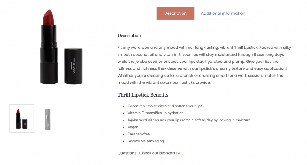 beauty product description example on blanka's website for lipstick.